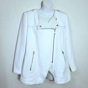 ZARA Off White Moto Jacket W/Faux Leather Lapel